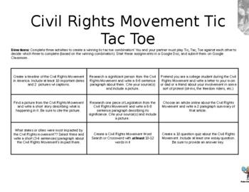 Civil Rights Tic Tac Toe Mini-Projects