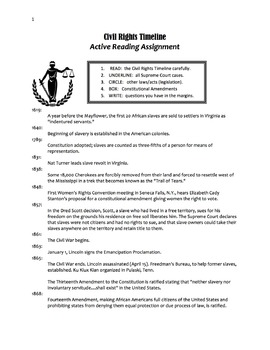 Civil Rights Timeline Active Reading Assignment