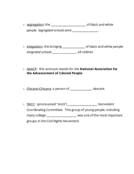 Civil Rights Vocabulary/CRM Timeline Notes Set Up
