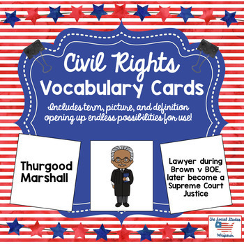 Civil Rights Vocabulary Cards
