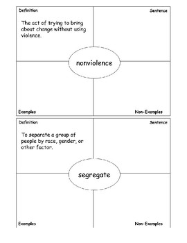 Civil Rights Vocabulary Cards (based on Frayer model)