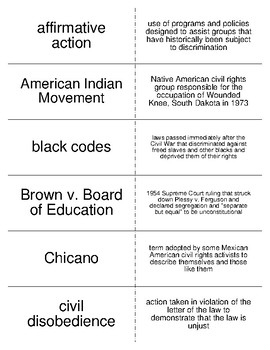 Civil Rights Vocabulary Flash Cards for American Government