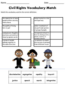 Civil Rights Vocabulary Match and ABC Order