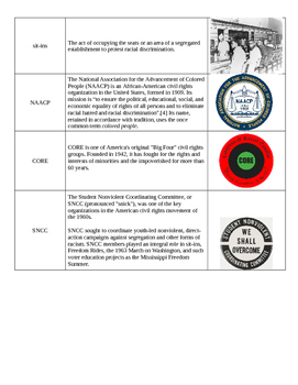 Civil Rights Vocabulary and Terms (Picture dictionary)