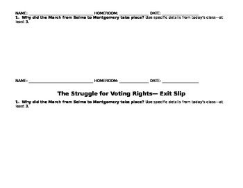 Civil Rights- Voting Rights, Selma