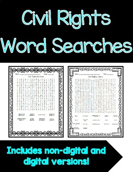 Civil Rights Word Searches