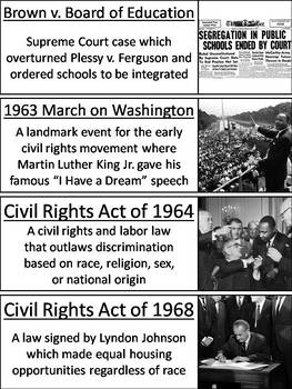 Civil Rights Word Wall Cards