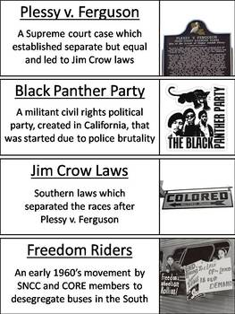 Civil Rights Movement Word Wall Cards