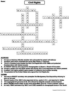 Civil rights crossword puzzle pdf