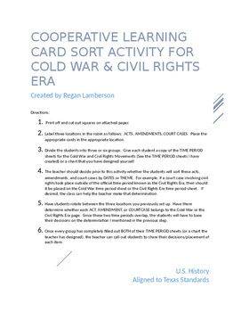 Civil Rights & Cold War Cooperative Learning Activity US History STAAR EOC Prep