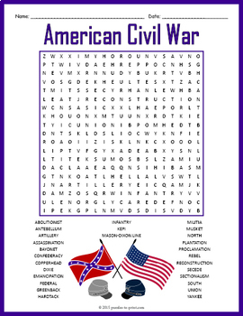 Civil War Word Search | Worksheet | Education.com