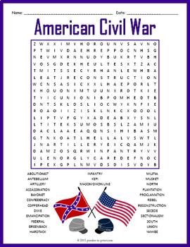 American Civil War Word Search Puzzle