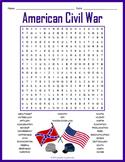 Civil War Word Search Worksheet