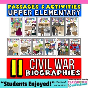 Civil War: Reading: Biography Passages: 4th-5th Grade Social Studies: US History