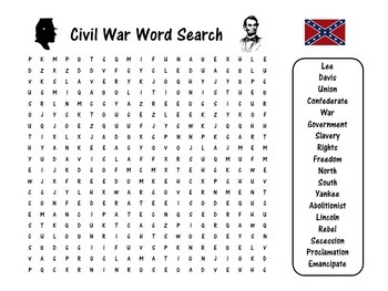 Civil War Activity | Civil War Word Search