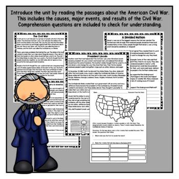 American Civil War Unit with Articles, Activities, & Flip Book