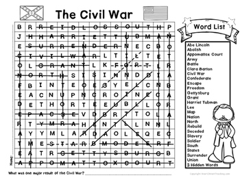 American Civil War Word Search with Hidden Words