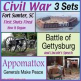 Civil War 3 Set Bundle (Fort Sumter, Gettysburg, Appomatto