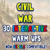 Civil War 30 Interactive Warm Ups - DBQ Bellringers Distan