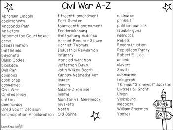 Civil War A-Z Book