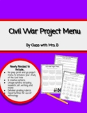 Civil War Activities Menu