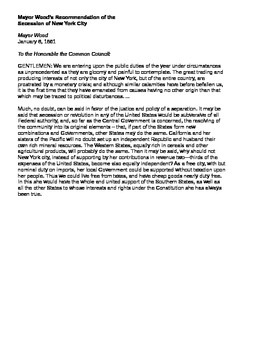 Civil War Worksheet, Primary Documents