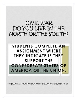 Civil War Activity Do You Live in the North or South?