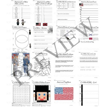 Civil War Activity Packet for Elementary Grades