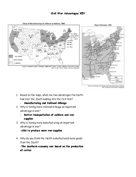 Civil War Advantages Map Worksheet and Answer Key