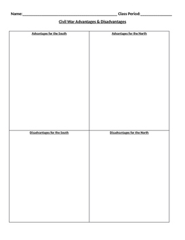 Civil War Advantages and Disadvantages Chart - Graphic Organizer