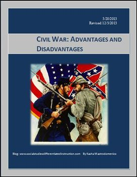 Civil War Advantages and Disadvantages Differentiated Instruction Lesson