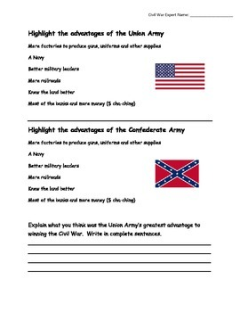 Civil War Advantages of Each Side (TEI-like Assessment)