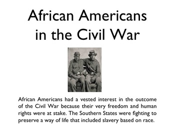Civil War - African Americans In The War PowerPoint