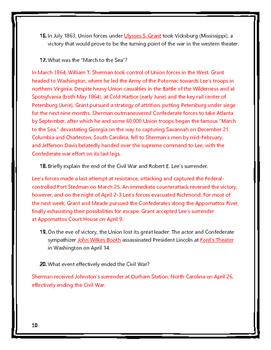 Civil War - Webquest with Key (History.com)