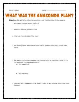 Civil War - Anaconda Plan - Reading and Questions with Key