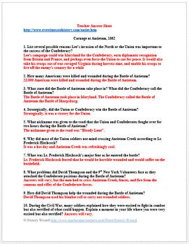 Civil War: Antietam Primary Source Worksheet