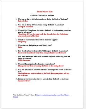Civil War: Antietam in 4 Minutes Video Worksheet