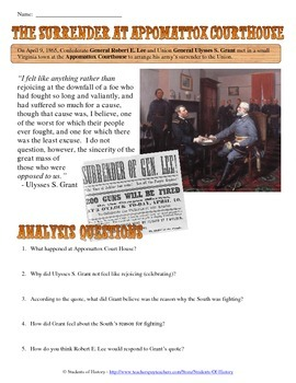 Primary source analysis teaching resources teachers pay teachers civil war appomattox court house primary source analysis worksheet fandeluxe Choice Image