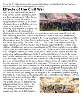 Civil War Article with Questions