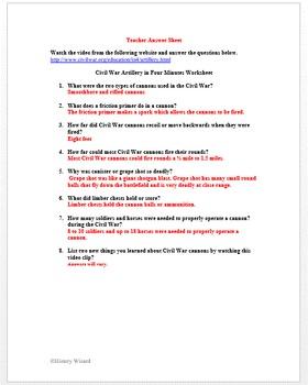 Civil War Artillery 4 Minute Video Worksheet