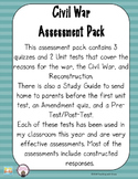 Civil War Assessment Pack: From beginning to the end