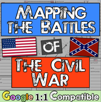 Civil War Battle Mapping! 62 page PowerPoint, Organizer, &