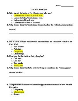 Civil War Battle Quiz