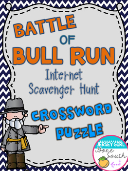 Civil War - Battle of Bull Run Internet Scavenger Hunt Crossword Puzzle