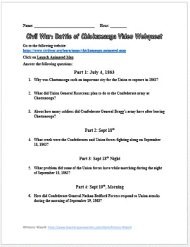 Civil War: Battle of Chickamauga Video Webquest