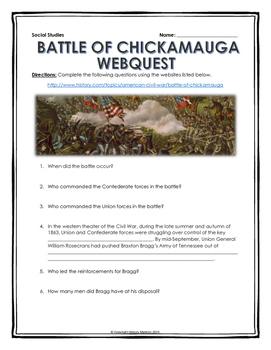 Civil War - Battle of Chickamauga - Webquest with Key