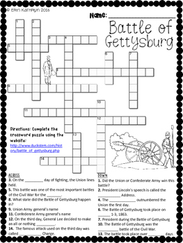 Civil War - Battle of Gettysburg Internet Scavenger Hunt Crossword Puzzle