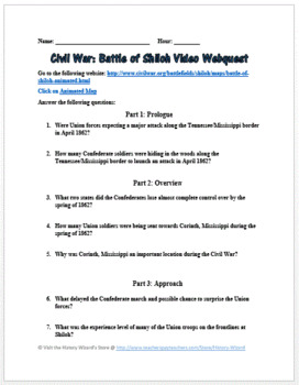 Civil War: Battle of Shiloh Video Webquest