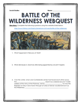 Civil War - Battle of the Wilderness - Webquest with Key