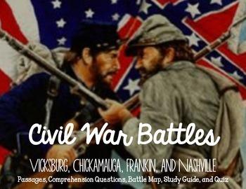 Civil War Battles Bundle: Informational Text, Comprehension, Study Guide, & Quiz